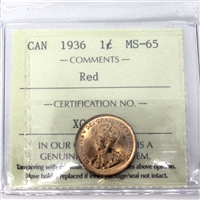 1936 Canada 1-Cent ICCS Certified MS-65 Red (XCE 813)
