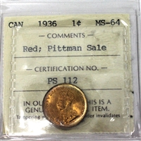 1936 Canada 1-Cent ICCS Certified MS-64 Red; Pittman Sale (PS 112)