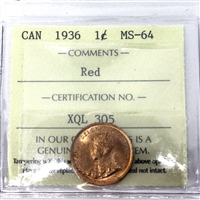 1936 Canada 1-Cent ICCS Certified MS-64 Red (XQL 305)