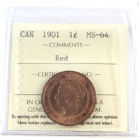 1901 Canada 1-Cent ICCS Certified MS-64 Red (XIC 346)