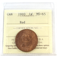 1910 Canada 1-Cent ICCS Certified MS-65 Red (XRG 900)