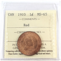 1910 Canada 1-Cent ICCS Certified MS-65 Red (XIC 359)