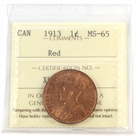 1913 Canada 1-Cent ICCS Certified MS-65 Red (XDO 326)