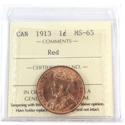 1913 Canada 1-Cent ICCS Certified MS-65 Red (XIC 369)
