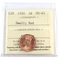 1920 Small Canada 1-Cent ICCS Certified MS-65 Red (XIC 379)
