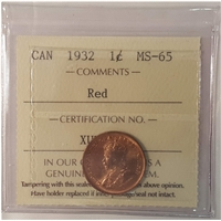 1932 Canada 1-Cent ICCS Certified MS-65 Red (XUZ 593)