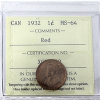 1932 Canada 1-Cent ICCS Certified MS-64 Red (XCE 790)