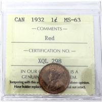 1932 Canada 1-Cent ICCS Certified MS-63 Red (XQL 298)