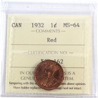 1932 Canada 1-Cent ICCS Certified MS-64 Red (XJX 162)