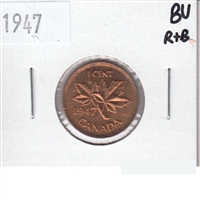 1947 Canada 1 Cent Brilliant Uncirculated R & B (MS-63)