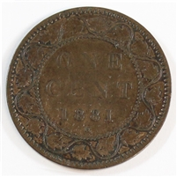 1881H Repunched N Canada 1 Cent Fine (F-12) $