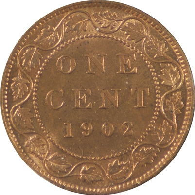 1902 Canada 1 Cent Choice Brilliant Uncirculated (MS-64) Red & Brown