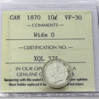 1870 Canada 10-cent ICCS Certified VF-30 Wide 0