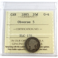 1885 Obv. 5 Canada 10-cent ICCS Certified G-4