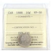 1888 Canada 10-cents ICCS Certified VF-30