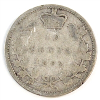 1892 Large 9 Obv. 6 Canada 10-cent Good (G-4) $