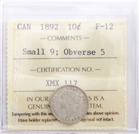 1892 Canada 10-Cents ICCS Certified F-15 Small 9; Obv. 5