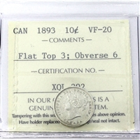 1893 Canada 10-Cents ICCS Certified VF-20 Flat Top 3; Obv. 6