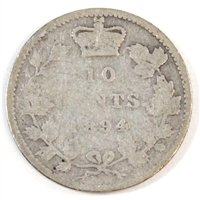 1894 Obv. 5 Canada 10-cent Good (G-4)