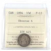 1894 Obv. 6 Canada 10-cent ICCS Certified VF-30