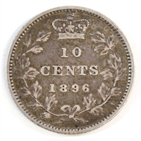 1896 Obv. 6 Canada 10-cent Very Fine (VF-20)