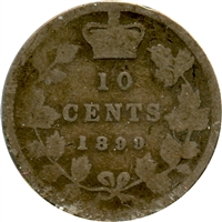 1899 Small 9's Canada 10-cent About Good (AG-3)