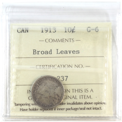 1913 Canada 10-cents ICCS Certified G-6 Broad Leaves