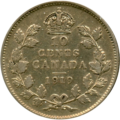 1919 Canada 10-cents F-VF (F-15)
