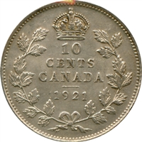 1921 Canada 10-cent Almost Uncirculated (AU-50) $