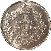 1932 Canada 10-cents Almost Uncirculated (AU-50) $