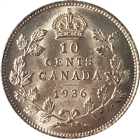 1936 Canada 10-cents Brilliant Uncirculated (MS-63) $