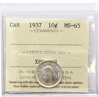 1937 Canada 10-cents ICCS Certified MS-65 (XUM 193)
