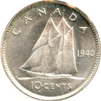 1940 Canada 10-cents Brilliant Uncirculated (MS-63)