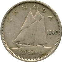 1940 Canada 10-cents Circulated