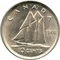 1940 Canada Re-Engraved 10-cent AU-UNC (AU-55)