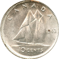 1943 Canada 10-cents Brilliant Uncirculated (MS-63)