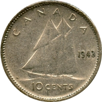 1943 Canada 10-cents Circulated