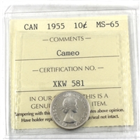 1955 Canada 10-cents ICCS Certified MS-65 Cameo