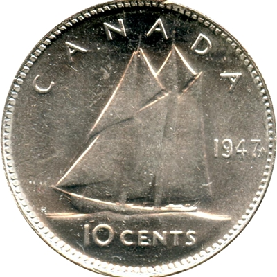 1947 Maple Leaf Canada 10-cents Brilliant Uncirculated (MS-63)