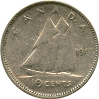 1947 Maple Leaf Canada 10-cent Very Fine (VF-20)