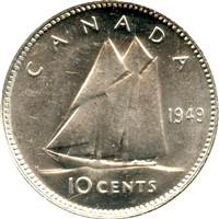 1949 Canada 10-cents Brilliant Uncirculated (MS-63)