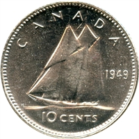 1949 Canada 10-cents Choice Brilliant Uncirculated (MS-64)