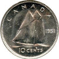 1951 Canada 10-cents Brilliant Uncirculated (MS-63)