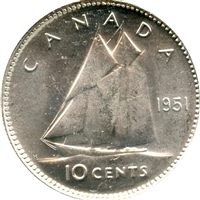 1951 Canada 10-cents Choice Brilliant Uncirculated (MS-64)