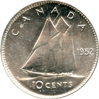 1952 Canada 10-cents Choice Brilliant Uncirculated (MS-64)