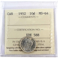 1952 Canada 10-cents ICCS Certified MS-64
