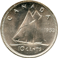 1953 NSS Canada 10-cents Choice Brilliant Uncirculated (MS-64)