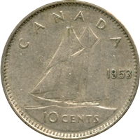 1953 SS Canada 10-cents Very Fine (VF-20)