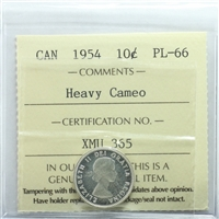 1954 Canada 10-cents ICCS Certified PL-66 Heavy Cameo