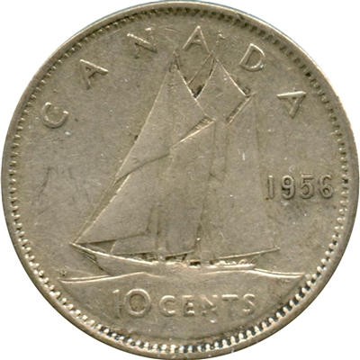 1956 Canada 10-cents Circulated
